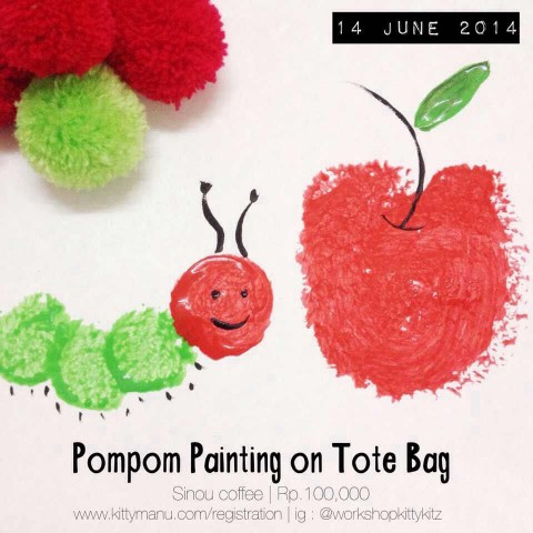 Workshop Kittykitz #11 – Pompom Painting on Tote Bag