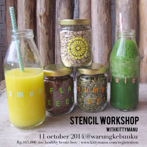 Workshop : Upcycling with Stencil at Warung Kebunku