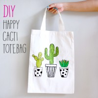 DIY : Happy Cacti Totebag